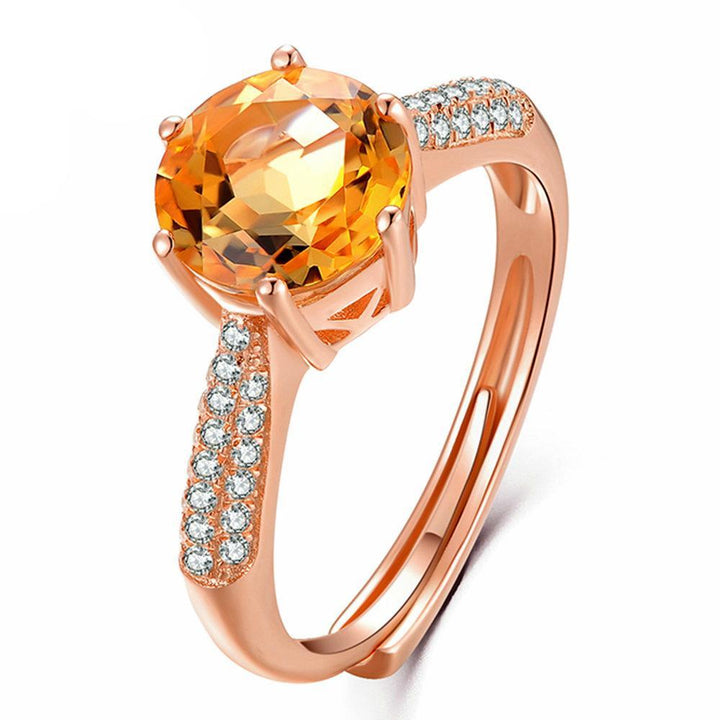 CNS Deals Women Ring Pave Setting 2ct Citrine Rose Gold Plated Ring
