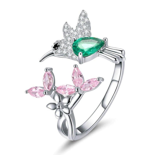 Pink Flower Green Hummingbird Bird 100% 925 Sterling Silver Ring B01