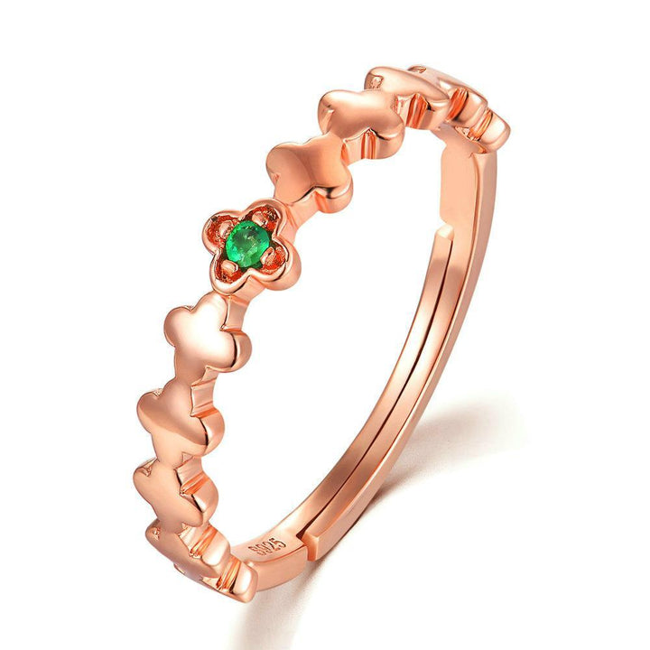 CNS Deals Women Ring Real Natural Round Green Emerald Clover Rose Gold Ring