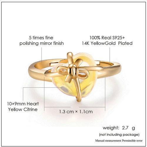 CNS Deals Women Ring Romantic Heart Natural Citrine 14K Yellow Gold Adjustable Ring