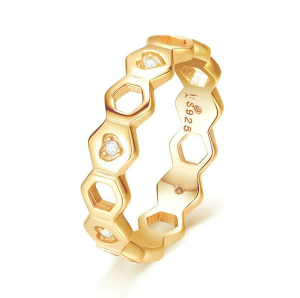 Romantic Love Heart Hexagon Gold Plated Over Silver Finger Ring B01