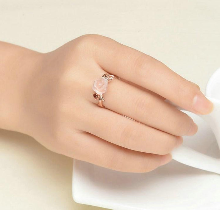 CNS Deals Women Ring Rose Flower Natural Pink Rose Quartz Adjustable Ring