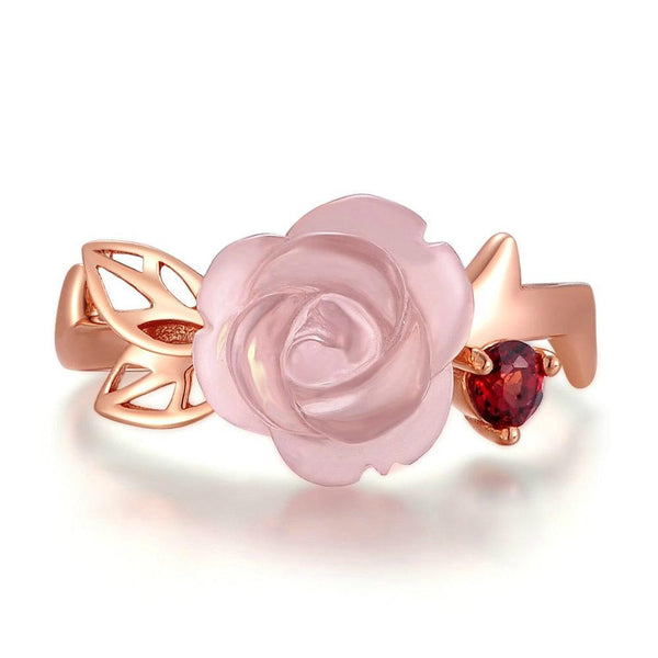 Rose Flower Natural Pink Rose Quartz Adjustable Ring