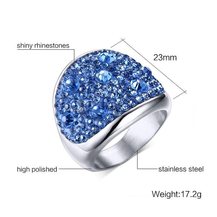 CNS Deals Women Ring Shiny Rhinestones Stainless Steel Ring for Women