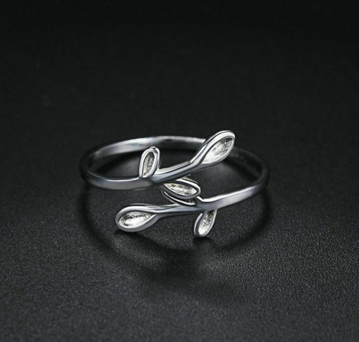 CNS Deals Women Ring Silver Leaf Open Design 925 Sterling Silver Ring