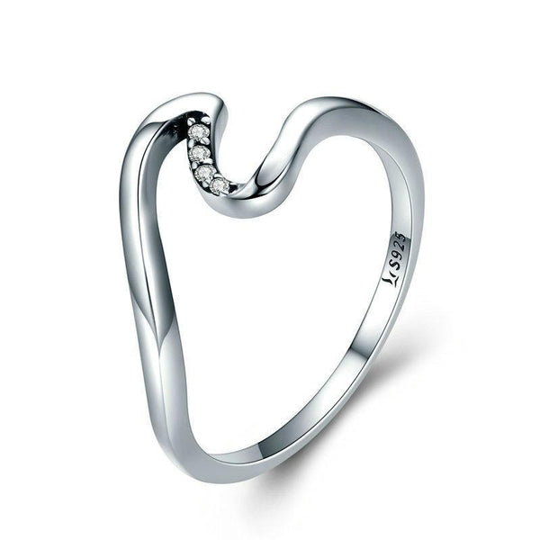 Simple Geometric Wave 100% 925 Sterling Silver Ring B01