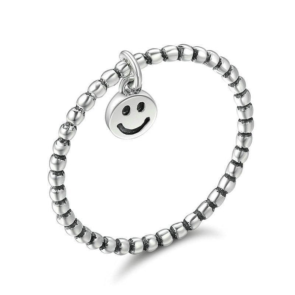 Smiley Face Knuckles 925 Sterling Silver Finger Ring B01