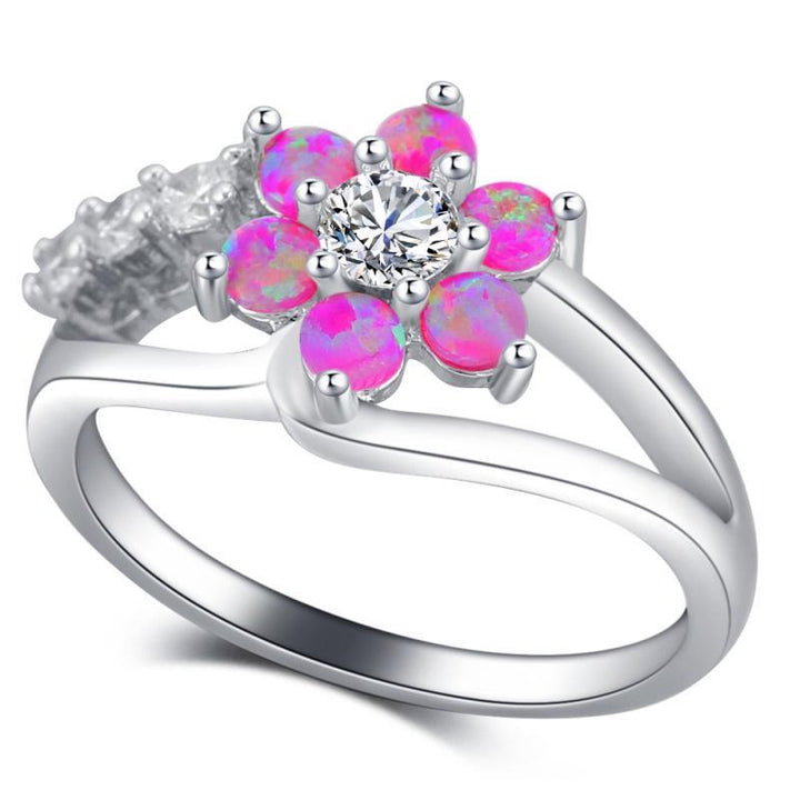 CNS Deals Women Ring Stunning Pink Fire Opal Flower Silver Plated Fashion Ring R01