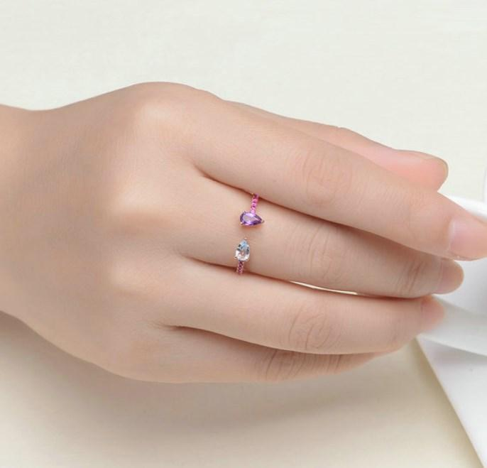 CNS Deals Women Ring Teardrop Natural Topaz Amethyst Rose Gold Adjustable Ring