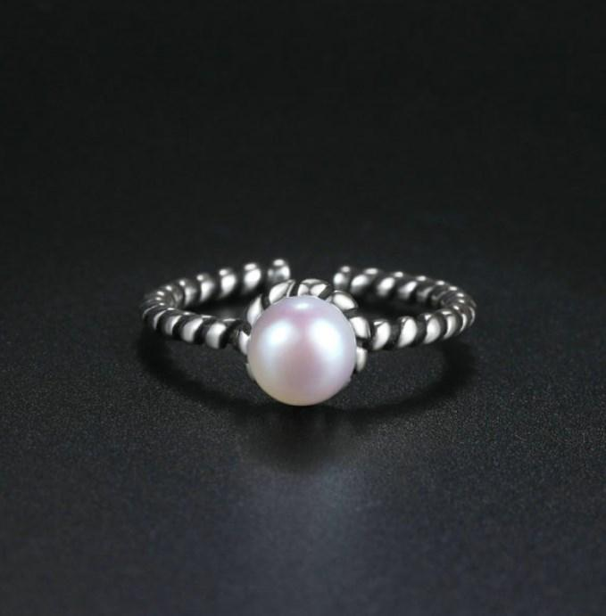 CNS Deals Women Ring Twist Design Retro Silver Freshwater Pearl Ring
