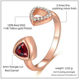 CNS Deals Women Ring Unique Hollow 6mm Triangle Natural Garnet Ring