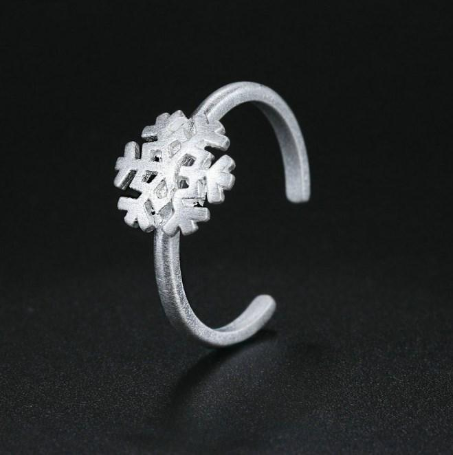 CNS Deals Women Ring Wire Drawing Snowflake 925 Sterling Silver Adjustable Ring