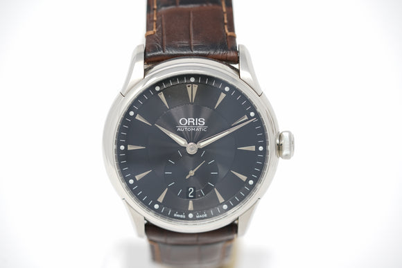 Oris Artelier Small Second Date 01 623 7582 4074-07 5 21 71FC with Brown Leather Strap