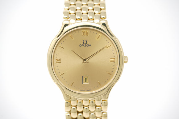 Omega DeVille 1992 Vasarely Vintage 18k Yellow Gold Quartz BA 396.7720 with Strap and Bracelet