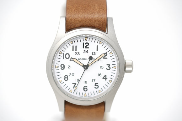 Pre-Owned Hamilton Khaki Field Mechanical Brown Leather H69439511