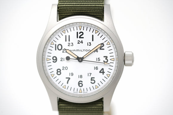 Pre-Owned Hamilton Khaki Field Mechanical Green Textile H69439411