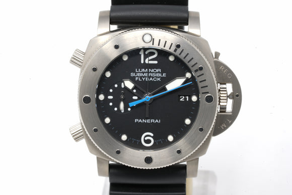 Panerai Luminor Submersible 1950 3 Days Chrono Flyback Titanio PAM 614 R Series with Extra Strap