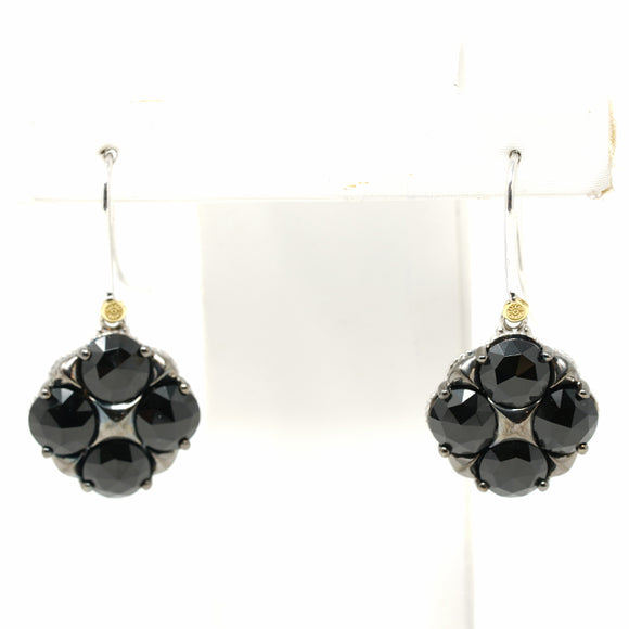 Tacori Jewelry Silver with Black Onyx Art Deco Drop Earrings