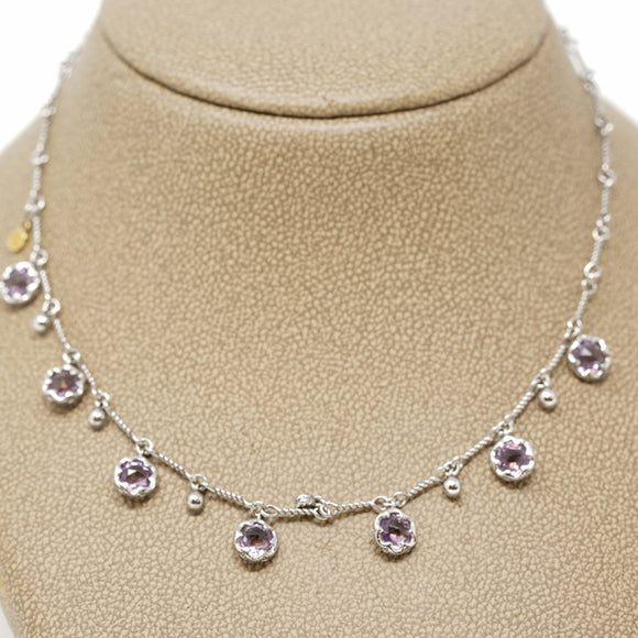 Tacori Jewelry Silver with Amethyst Gem Drop Necklace