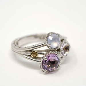 Tacori jewelry Silver three stone ring with amethyst
