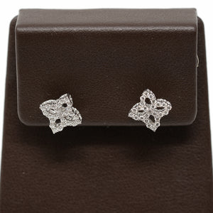 "Roberto Coin 18 karat white ""mini"" princess flower white gold and diamond earrings"