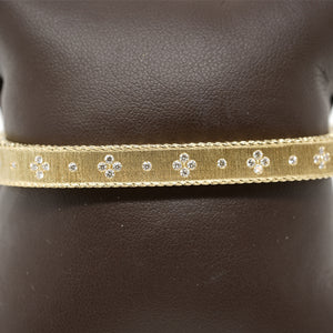 Roberto Coin 18 Karat Yellow Gold Princess Flower Diamond Bangle