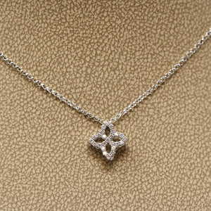 "Roberto Coin 18 Karat White Gold Princess Flower ""medium"" Diamond Pendant"