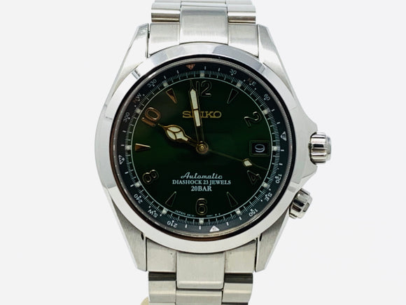 Seiko Green Dial Automatic Alpinist Field Watch SARB017 with Extra Strap