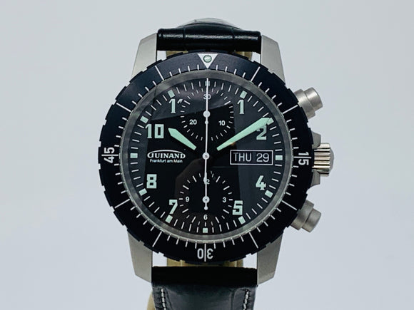 Guinand Duograph Flieger Chronograph Watch 40.50.04 with Six Extra Straps