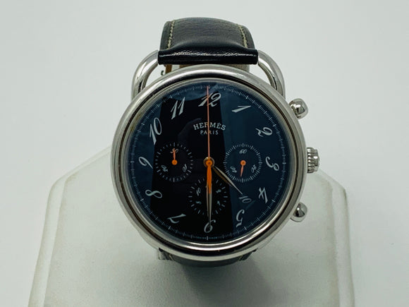 Hermes Arceau Chronograph Black Dial Watch AR4.910A