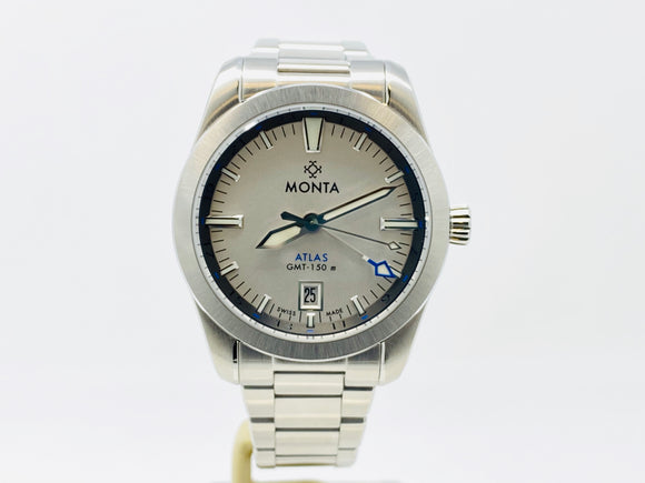 Monta Atlas GMT Opaline Silver Dial Limited Edition Watch