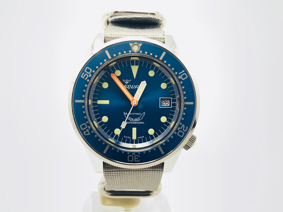 Squale 50 ATMOS Blue Professional Dive Watch 1521 with Strap and Bracelet
