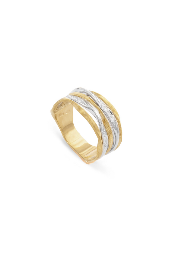 Marco Bicego Marrakech Onde 18K Yellow Gold and Diamond Hand Twisted Ring AG349-B-YW