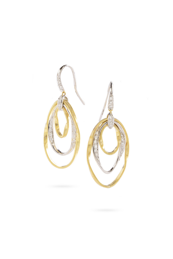Marco Bicego Marrakech Onde 18K Yellow Gold and Diamond Hand Twisted Earrings OG388-A-B-YW