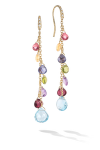 Marco Bicego Paradise 18K Yellow Gold Diamond and Mixed Gemstone Long Drop Earrings