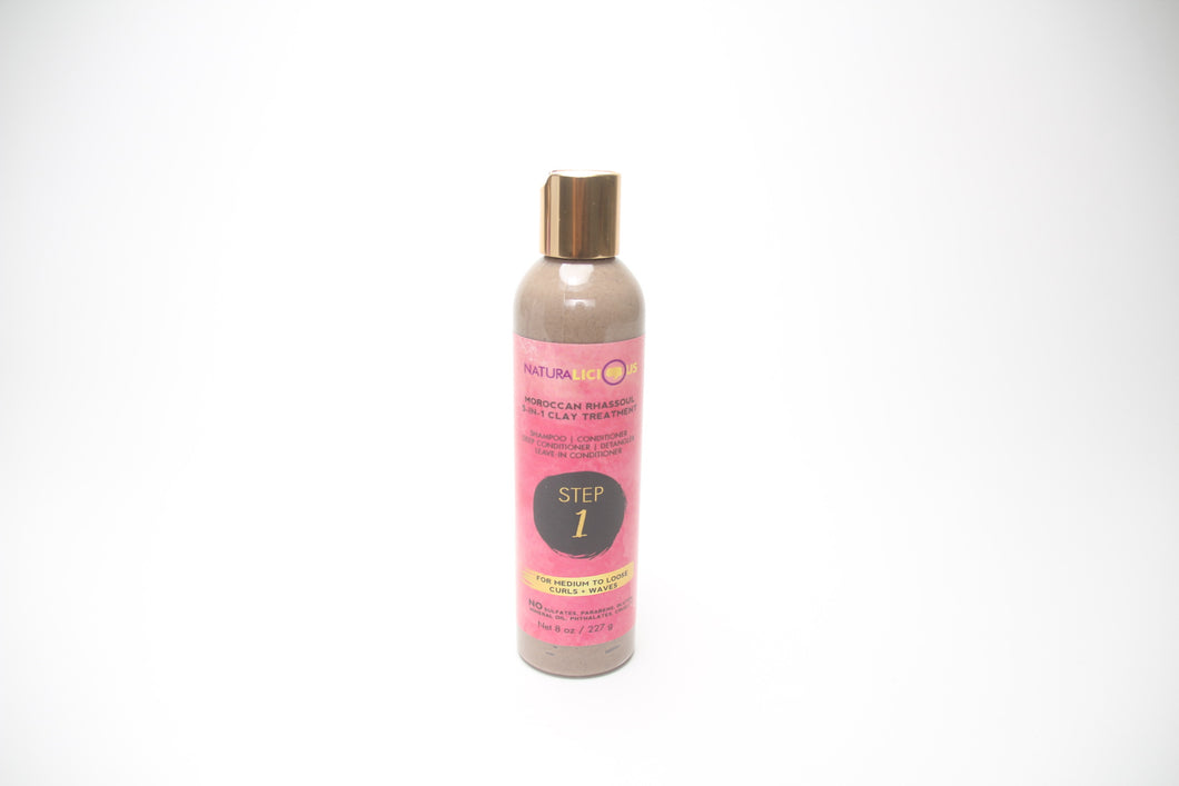 Naturalicious Step 1 Moroccan Rhassoul 5-in-1 Clay Treatment (For Medium to Loose Curls + Waves) Don't Break the Comb