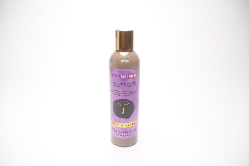 Naturalicious Step 1 Moroccan Rhassoul 5-in-1 Clay Treatment (For Tight Curls + Coils) Don't Break the Comb