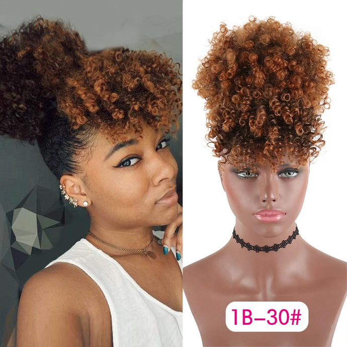 Synthetic Drawstring Ponytail  | Kinky Curly High Puff with Bangs