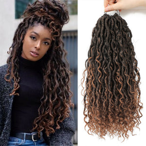 Synthetic Crochet Braids | River Goddess Faux Locs with Curly Hair