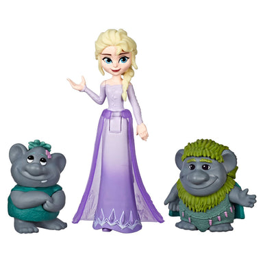 Disney Frozen Elsa Small Doll With Troll Figures
