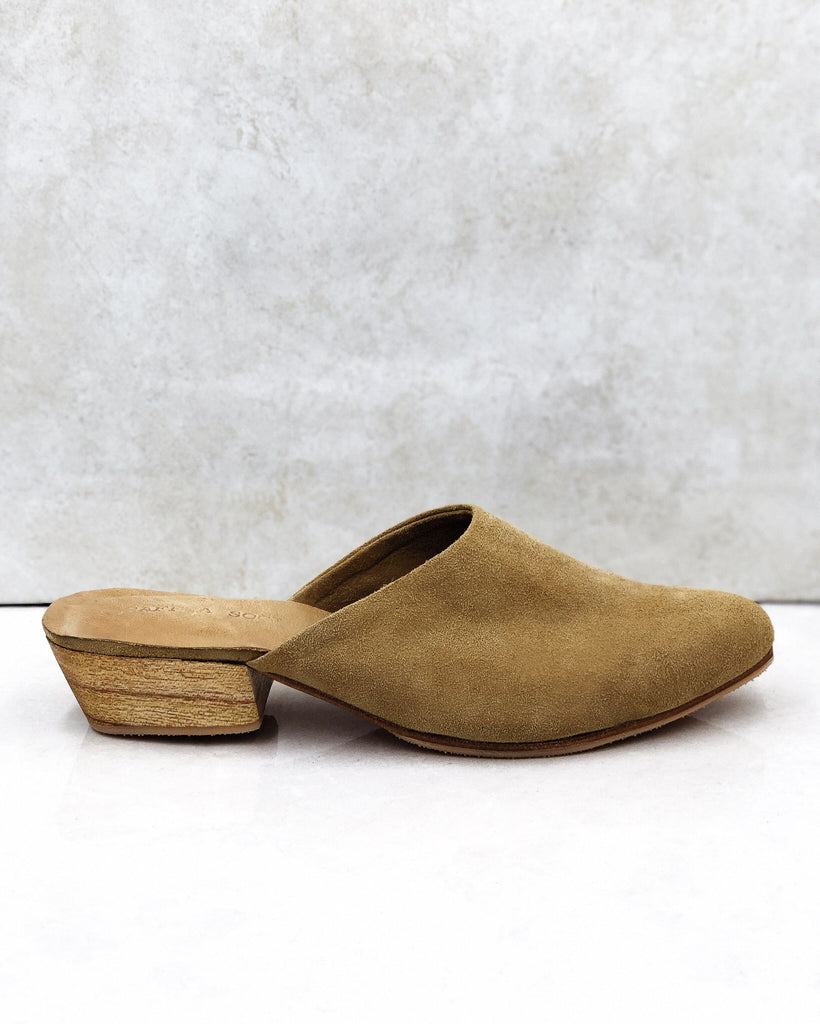 The VALENTINA mule in Tan Suede