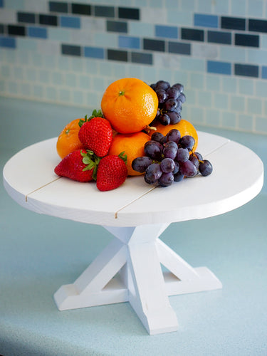 Farmhouse Table Cake Stand with Shiplap top