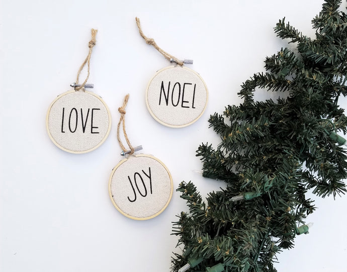 Farmhouse Christmas Ornaments, Set of 3