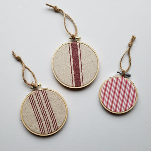 Farmhouse Feedsack Style Christmas Ornaments, Red and Natural, Set of 3