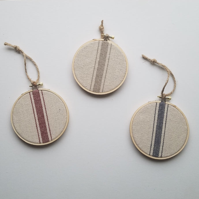 Farmhouse Three Stripe Feedsack Style Christmas Ornaments, Set of 3
