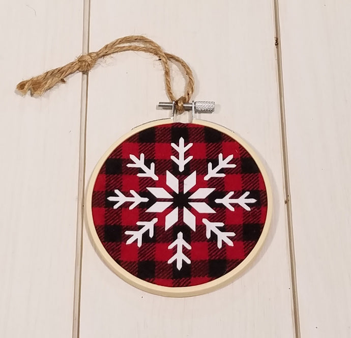 Nordic Snowflake Buffalo Plaid Set of 3 Ornament