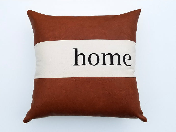 Modern Farmhouse Home Pillow with Faux Leather Trim