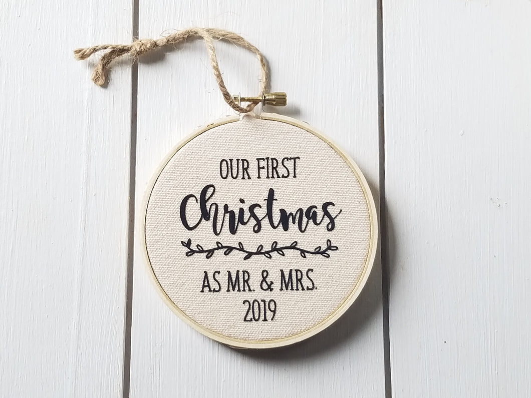 Our First Christmas as Mr. and Mrs. 2019 Farmhouse Style Christmas Ornament