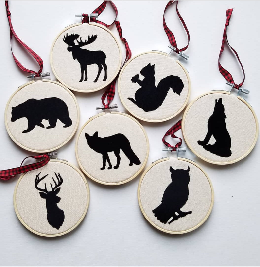 Woodland Animals Christmas Ornaments, Set of 7
