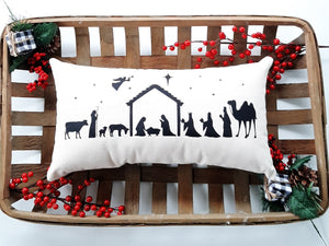 Nativity Scene Christmas Pillow